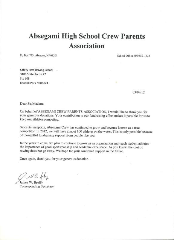 Safety first driving school sponsorship letters of appreciation altavistaventures Images